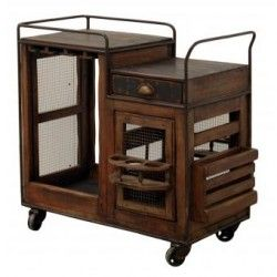 Carrito de Servicio Madera, Vintage Home Designe, Toledo, Movible con Ruedas de Hierro Doble Vista, Porta Vasos Giratorio