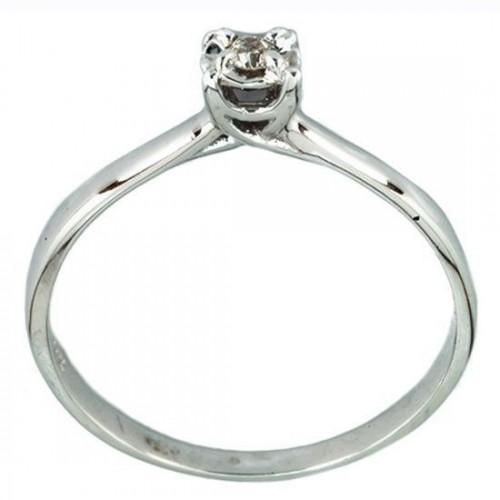 Anillo de Oro Blanco con Diamante Bercov .04 Puntos 7486