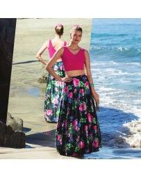 Vestido Crop Top Estampado Floral Nikki Italy