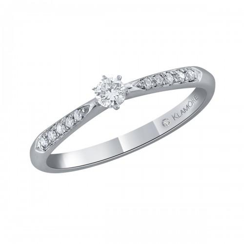Anillo Solitario Cath Klamore Oro Blanco 14 K con 15 Puntos de Diamante Corte Brillante Bbicman211B15