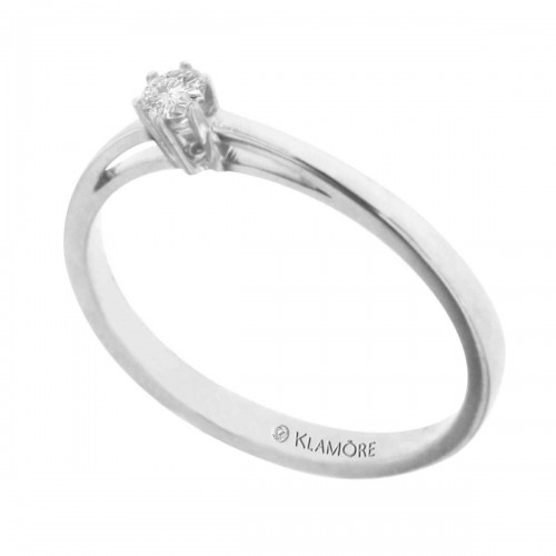 Anillo Solitario Clarion Klamore Oro Blanco 14 K con 10 Puntos de Diamante Corte Brillante Bbizan6644B10