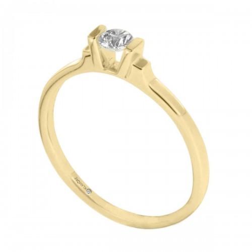 Anillo Solitario Kambri Klamore Oro Amarillo 14 K con 15 Puntos de Diamante Corte Brillante Bbian-D148-15