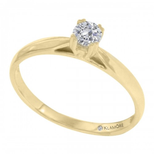 Anillo Solitario Claud Klamore Oro Amarillo 14 K con 15 Puntos de Diamante Corte Brillante Bbian-D530-20