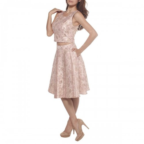 Vestido Crop Top Falda Corta en Jacquard Hollywood Nites