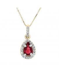 Dije Oro 14 K con Rubí y Diamantes Gn B05148