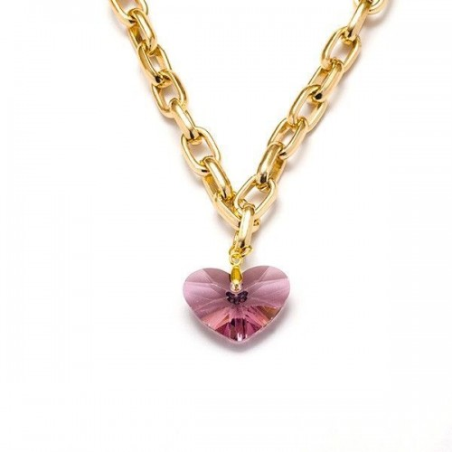COLLAR CORAZON ANCHO ANTIQUE PINK