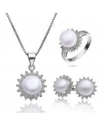 Juego de anillo aretes y collar Moon Cristal Sun with Swarovski