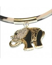 Collar Dije Elefante Negro