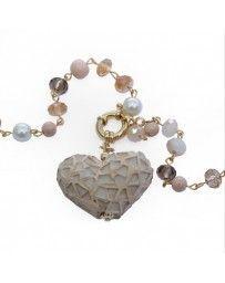 Collar Corazón Vitral Beige