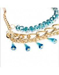 Collar Cristal Azul Tres Capas