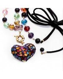Collar Corazón Vitral Multicolor