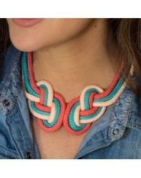 Collar Doble Nudo Coral y Azul