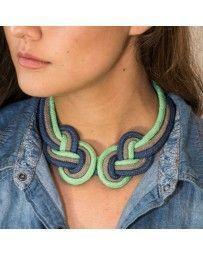 Collar Doble Nudo Azul, Gris y Verde