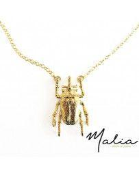 Collar Escarabajo cadena Gris