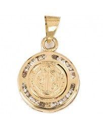 Medalla Sini San Benito Relieve Circonias (14K)