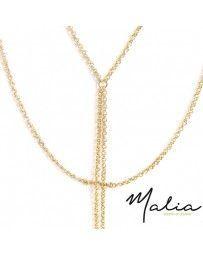 Collar Lariat Cadenas Chapa de Oro con Picos Martillados Colgantes