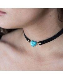 Collar Choker Corazón Cristal Azul