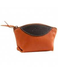 Porta monedas cubeta con cierre Q410 naranja/cafe
