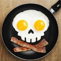 Wishmart Molde de silicona en forma de Búho y Calavera para hacer huevo frito Herramienta de moldeador de cocina - calavera