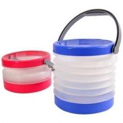Cubeta Multifuncional Plegable-Transparente con Azul