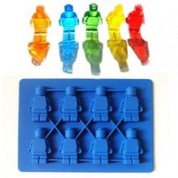 Kit 5 Moldes Muñeco Lego Hielos Chocolate Gomitas-Azul