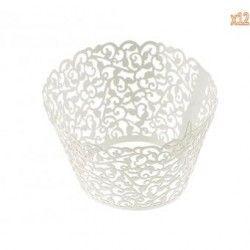 louiwill Taza Papel Envoltorio del Trazador de Líneas de Pastel Cupcake (Blanco)