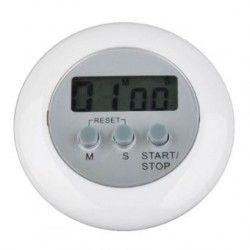 louiwill Mini Temporizador de Cuenta Alarma de Regresiva de LCD Digital de Forma Ronda de Cocina (Blanco)