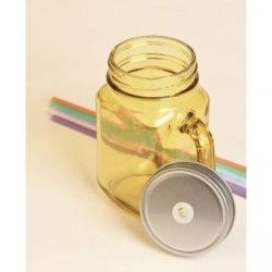 Mix Mason Jars Color Amarillo con tapa y popote rigido