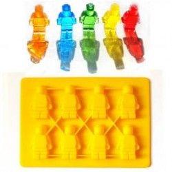 Kit 5 Moldes Muñeco Lego Hielos Chocolate Gomitas-amarillo